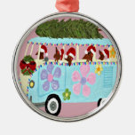 Dachshund Santas Christmas Van Silver-Colored Round Decoration