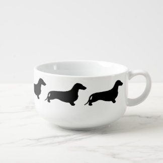 Dachshund silhouette black + your ideas soup mug