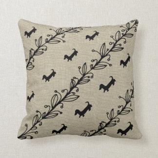 Dachshund Silhouette Hand Drawn Flowers Pillow