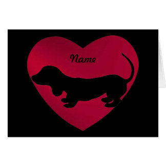 Dachshund Silhouette in Red Heart Card