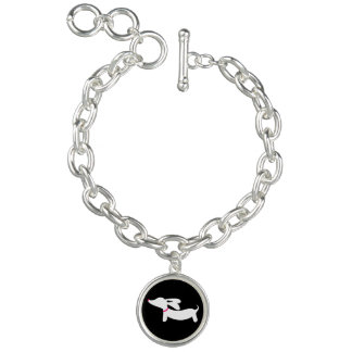 Dachshund Silhouette on Black with Pink Collar