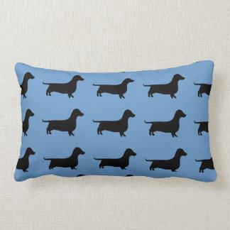 Dachshund Silhouette on Steel Blue or any color. Lumbar Cushion