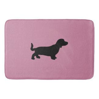 Dachshund Silhouette Pink Bath Mat