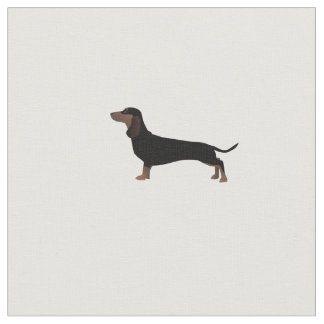Dachshund Silhouette Tiled Fabric Custom Spacing