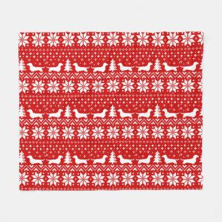 Dachshund Silhouettes Christmas Pattern Fleece Blanket
