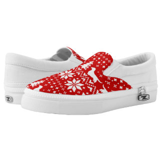 Dachshund Silhouettes Christmas Pattern Slip On Shoes