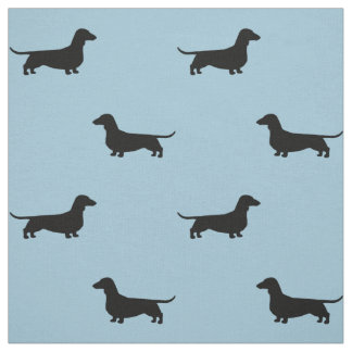Dachshund Silhouettes Pattern Fabric