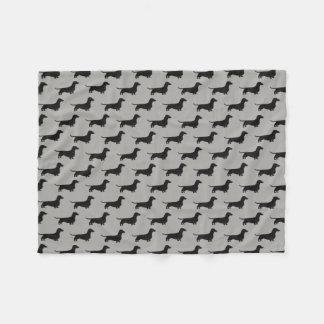 Dachshund Silhouettes Pattern Fleece Blanket