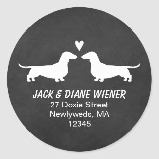 Dachshund Silhouettes Return Address Classic Round Sticker