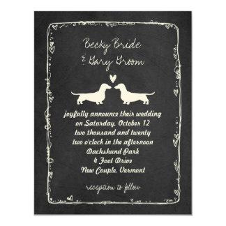 Dachshund Silhouettes Wedding 11 Cm X 14 Cm Invitation Card
