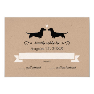 Dachshund Silhouettes Wedding RSVP 9 Cm X 13 Cm Invitation Card