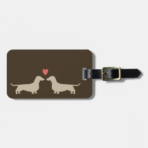 Dachshund Silhouettes with Heart and Custom Text Travel Bag Tag