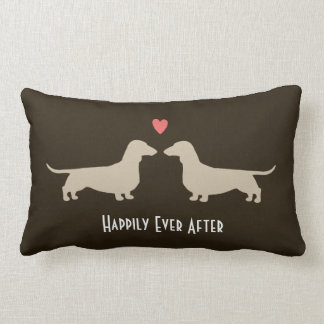 Dachshund Silhouettes with Heart and Text Lumbar Cushion