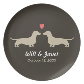 Dachshund Silhouettes with Heart and Text Plate