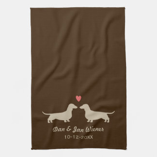 Dachshund Silhouettes with Heart and Text Tea Towel