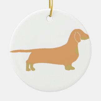 dachshund silo fawn and tan ceramic ornament