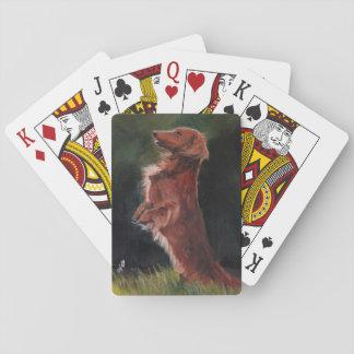 Dachshund Sitting Up Dog Art Playing Cards