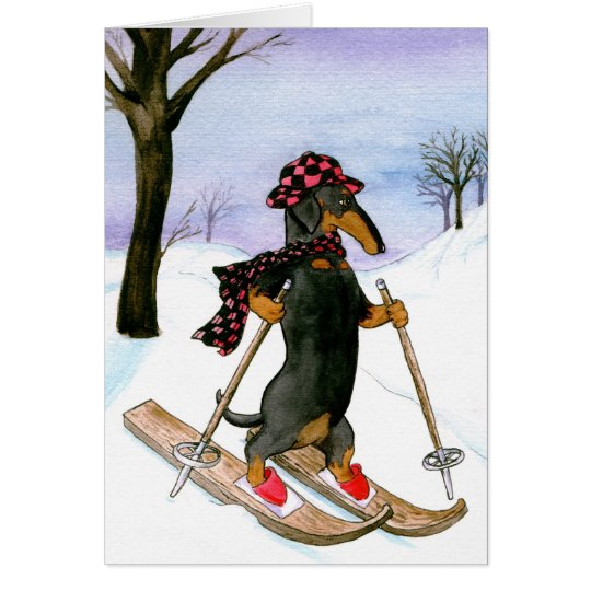 Dachshund Skiing Christmas Card