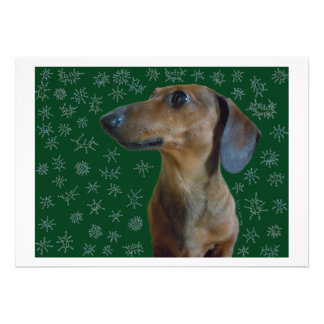 Dachshund Snow Personalized Invites
