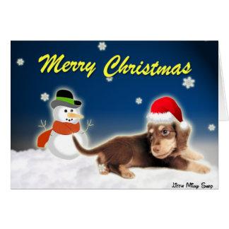 Dachshund Snowman Christmas Card