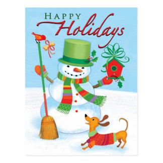 Dachshund Snowman Happy Holidays Red Bird Postcard