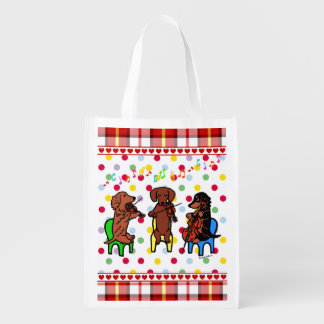 Dachshund String Trio Reusable Grocery Bag