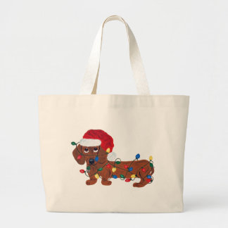Dachshund Tangled In Christmas Lights (Red) Bags