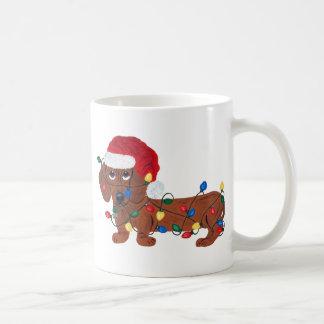 Dachshund Tangled In Christmas Lights (Red) Coffee Mug
