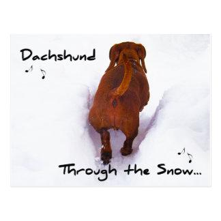 Dachshund Through Snow Dashing Through the Snow Postcard