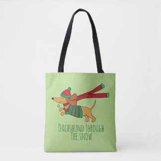 Dachshund Through the Snow All-Over-Print Tote Bag