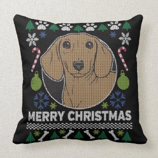 Dachshund Ugly Christmas Sweater Dog Design Cushion