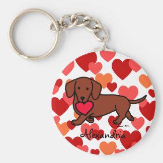 Dachshund Valentine Cartoon Basic Round Button Key Ring