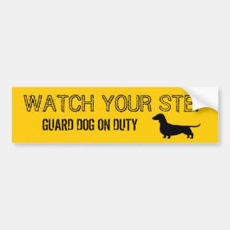 Dachshund Watch Your Step Funny Design Bumper Sticker