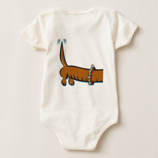 Dachshund Wearing Antlers for Christmas Baby Bodysuit