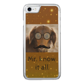 Dachshund wears glasses and mustache iPhone case