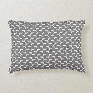 Dachshund White Silhouettes on Dove Grey Decorative Cushion