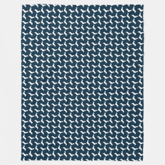 Dachshund White Silhouettes on Navy Blue Fleece Blanket