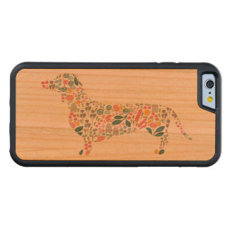 Dachshund Wiener Dog Floral Pattern Watercolor Art Carved Cherry iPhone 6 Bumper Case