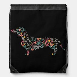 Dachshund Wiener Dog Floral Pattern Watercolor Art Drawstring Bag