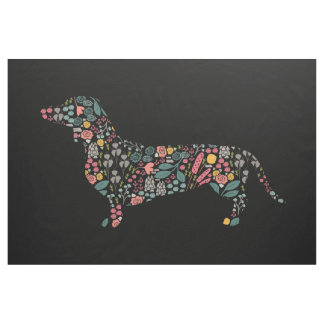 Dachshund Wiener Dog Floral Pattern Watercolor Art Fabric