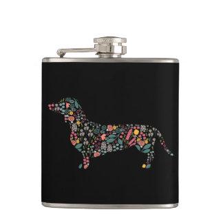 Dachshund Wiener Dog Floral Pattern Watercolor Art Hip Flask
