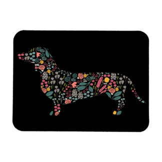Dachshund Wiener Dog Floral Pattern Watercolor Art Magnet