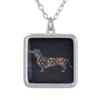 Dachshund Wiener Dog Floral Pattern Watercolor Art Silver Plated Necklace