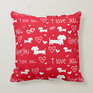 Dachshund Wiener Dog Love on Red Cushion