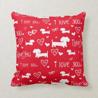 Dachshund Wiener Dog Love on Red Cushion