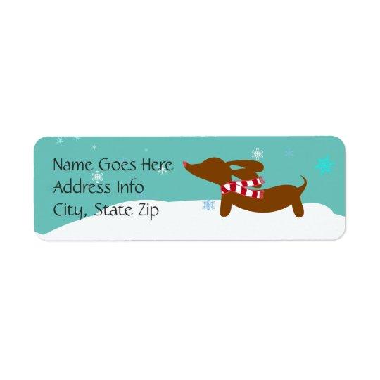 Dachshund Winter Holiday Return Address Labels