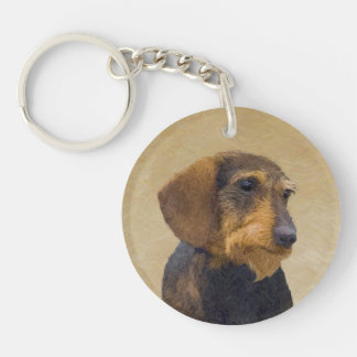 Dachshund (Wirehaired) Painting Original Dog Art Key Ring