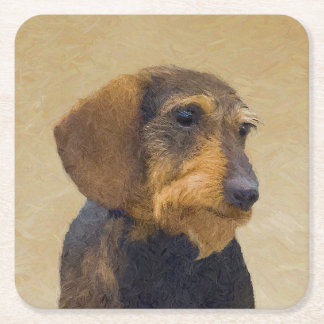 Dachshund (Wirehaired) Painting Original Dog Art Square Paper Coaster