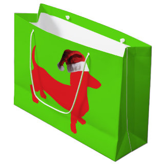 Dachshund with a Santa Hat for Christmas Large Gift Bag