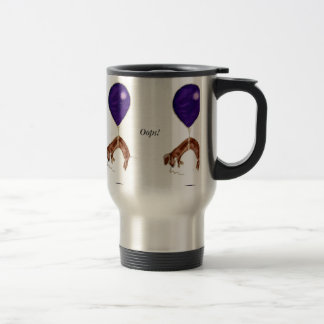 dachshund with balloon stainless steel travel mug
